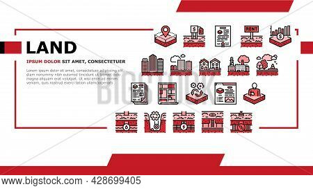 Land Property Business Landing Web Page Header Banner Template Vector. Land Rent And Sale, Residenti