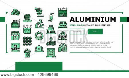 Aluminium Production Landing Web Page Header Banner Template Vector. Processing Of Aluminium Product