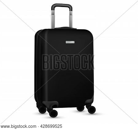 Baggage Isolated. Set Of Black Travel Plastic Suitcase Or Vacation Bag On White Background. Summer V