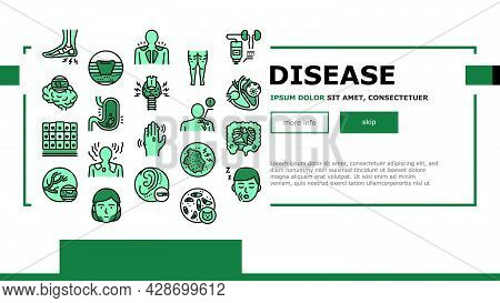 Disease Human Problem Landing Web Page Header Banner Template Vector. Epithelial Tissue And Toxoplas