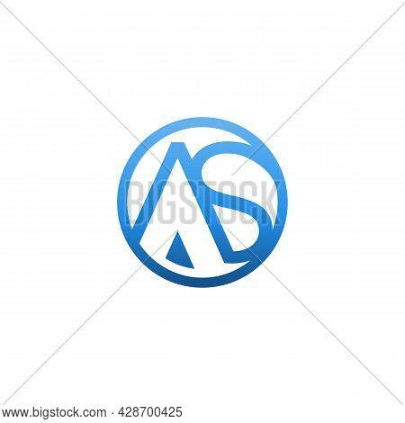Abstract Initial Letter As Logo Design Vector. Circle Shape Letter A And S Logo Design Abstract Styl
