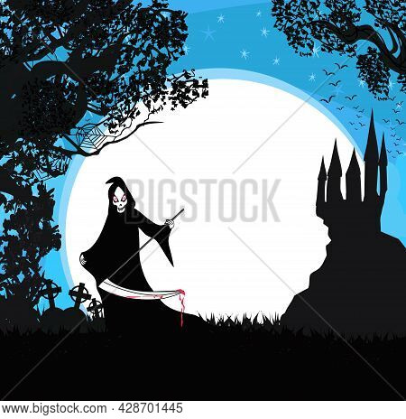 Halloween Grim Reaper Frame With Space For Text , Vector Illustration