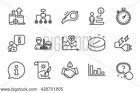 Line Icons Set. Included Icon As Question Button, Electricity Plug, Cleaning Service Signs. Restruct