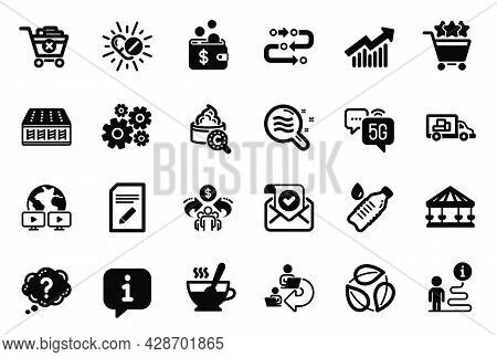 Vector Set Of Business Icons Related To 5g Internet, Collagen Skin And Shopping Rating Icons. Tea Cu