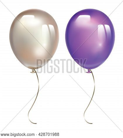 Violet Balloon And Pearl Balloon With Reflects Isolated On White Background. Inflatable Air Flying B