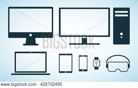 Electorinc Devices Icons. Black Flat Icons Of Digital Device Isolated On Blue Background. Smartphone