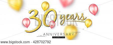 30 Years Anniversary. Happy Birthday Balloons Background. Thirty Years Celebration Icon. Anniversary
