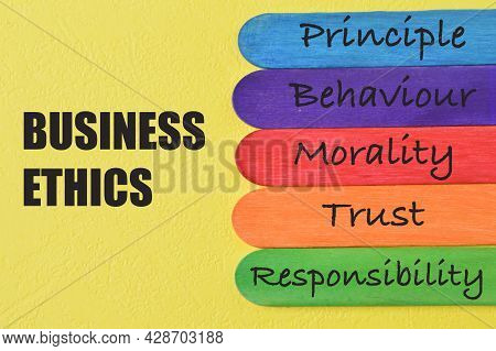 Wooden Sticks With Text Principle, Behaviour, Morality, Trust And Responsibility. Business Ethics Co