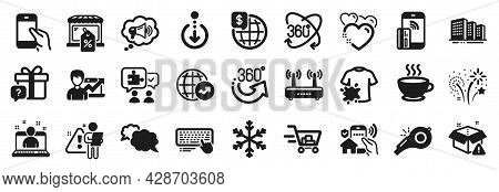 Set Of Business Icons, Such As Fireworks, Full Rotation, 360 Degrees Icons. Wifi, Shopping Cart, Sec