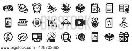 Set Of Simple Icons, Such As Alarm Clock, Statistics, Mobile Finance Icons. Open Box, Gift Box, Copy