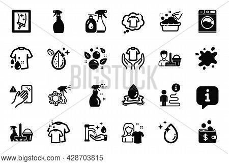 Vector Set Of Cleaning Icons Related To Water Drop, Dirty Water And Dirty Spot Icons. Cleaning Spray
