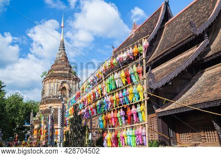 Beautiful Lantern Yeepeng Festival In Chaing Mai At Wat Lok Mo Lee Temple, Thailand.