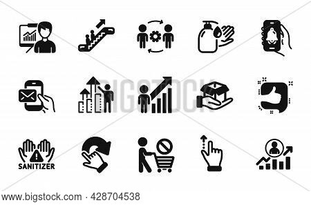 Vector Set Of Bell Alert, Messenger Mail And Employee Result Icons Simple Set. Presentation, Career
