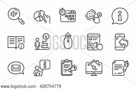 Technology Icons Set. Included Icon As Search Text, Messenger, Work Home Signs. Swipe Up, Pie Chart,