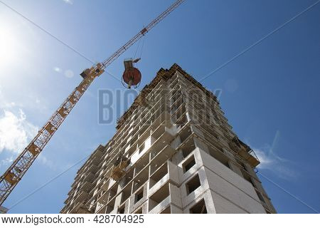 Construction Of A Monolithic Multi-storey Building. Construction Of Monolithic Walls At A Constructi