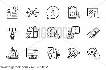 Finance Icons Set. Included Icon As Accounting Report, Discounts, Atm Signs. Discounts Offer, Dollar