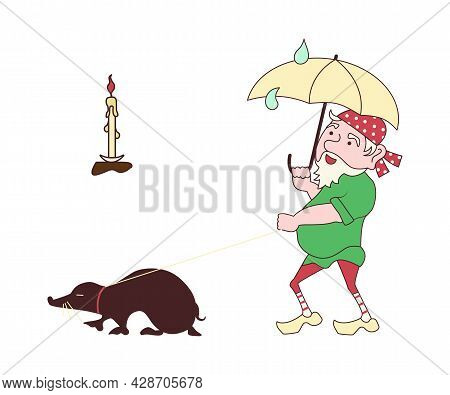 Funny Cute Mythological Gnome Walking His Pet Mole