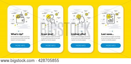 Vector Set Of Debit Card, Idea And Capsule Pill Line Icons Set. Ui Phone App Screens With Line Icons