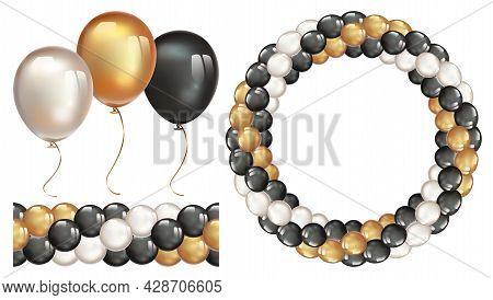 Garland Of Balloons. Seamless Garland Of Ballons. Decorative Wreath On Transparent Background.
