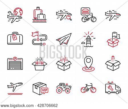 Vector Set Of Transportation Icons Related To Food Delivery, Airplane And Departure Plane Icons. Han