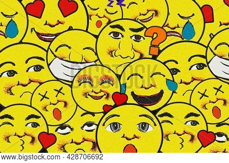 Vintage yellow round emoji pattern background design element