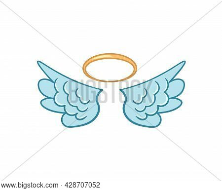 Flying Angel Wings Flat With Golden Halo.