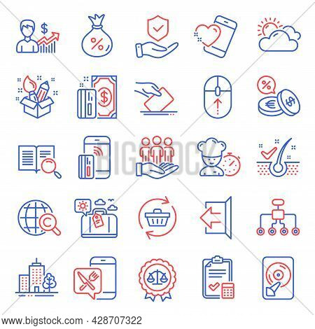 Business Icons Set. Included Icon As Skyscraper Buildings, Insurance Hand, Heart Signs. Contactless