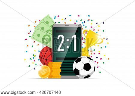 Online Sports Betting Mobile App Banner Design Template. Smartphone With Scoreboard On Screen And So