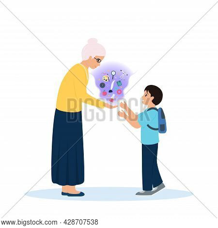 Elderly Teacher Presents Knowledge To Young Pupil. Knowledge As Magic Comes Out Of Her Palms. Teachi