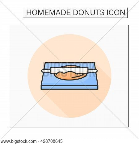 Dough Rolling Color Icon. Rolling Pin Pastry And Donuts Preparation. Concept Of Home Bread Baking An