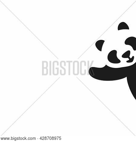 Vector Illustration With Cute Panda. Black And White Picture. The Panda Looks Out And Waves Its Paw.