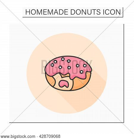 Filled Donut Color Icon. Sugar Gaze Coated Cream Or Jam Filled Fresh And Tasty Doughnut. Concept Of