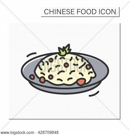 Fried Rice Color Icon. Chinese Stir-fry Bowl With Vegetables, Meat Or Seafood Ingredients. Concept O