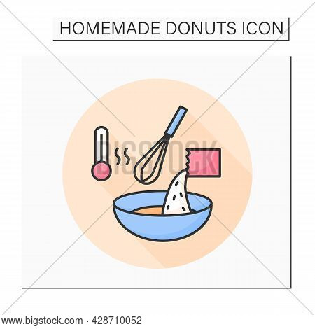 Dough Mixing Color Icon. Dry Yeast Raising For Bread And Donuts. Concept Of Home Baking And Pastry M