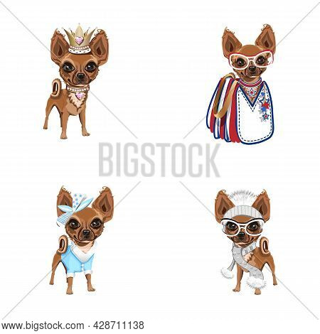 Cute Little Dogs In Different Clothes. Set Of Vector Illustrations Of Trendy Dogs In Cartoon Style.