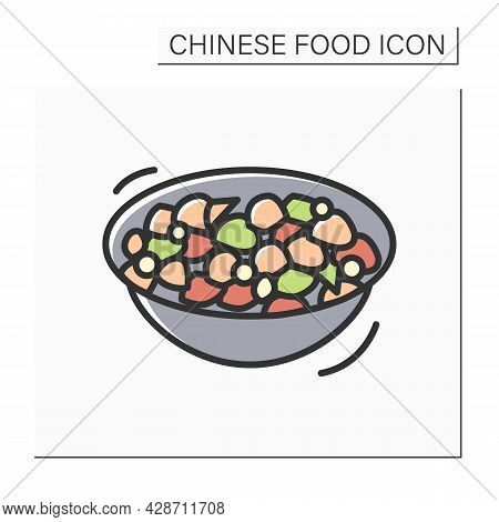 Kung Pao Chicken Color Icon. Delicious Chinese Stir-fried Chicken Bowl. Concept Of Authentic Asian R