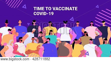 Mix Race Vaccinated Patients Group After Vaccine Injection Successful Covid-19 Vaccination Concept P