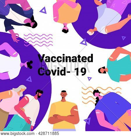 Mix Race Vaccinated Patients Group After Vaccine Injection Successful Covid-19 Vaccination Concept