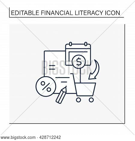 Spending Plan Line Icon.informal Document Determines Cash Flow Of Individual Or Household. Personal