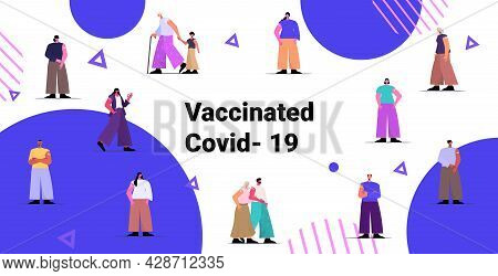 Vaccinated Patients Group After Vaccine Injection Successful Covid-19 Vaccination Concept Full Lengt