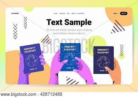 Human Hands Holding Global Immunity Passports Risk Free Covid-19 Re-infection Pcr Certificate Corona