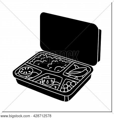 Lunchbox Glyph Icon.container Filled With Rice, Tomato, Boiled Egg And Asparagus.disposable Box With