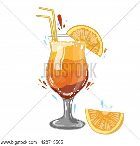 Gin And Tonic Cocktail With Orange, Vector Clipart, Hand Drawn Food Illustration