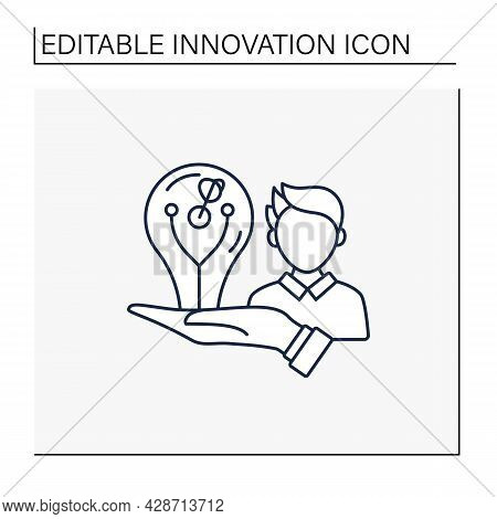 Innovator Line Icon. Person With Imagination, Creates And Generates New Ideas And Approaches.innovat