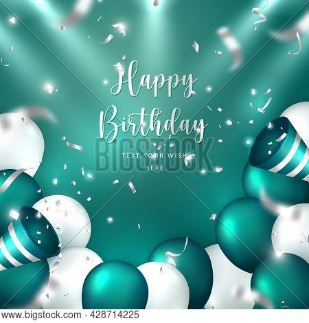 Elegant Golden Malachite Green Silver White Ballon And Party Popper Ribbon Happy Birthday Celebratio