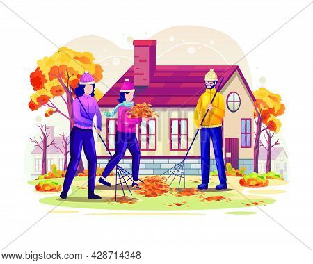 People Are Sweeping The Fallen Leaves Of Autumn. Flat Vector Illustration