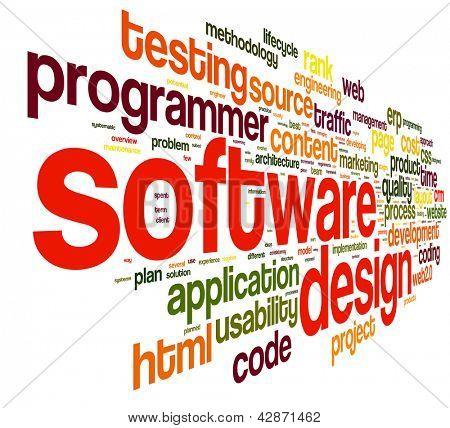 Conceito de projeto de software na nuvem de Tags no fundo branco