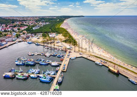 Aerial landscape of harbor in Wladyslawowo by the Baltic Sea at summer. Poland.