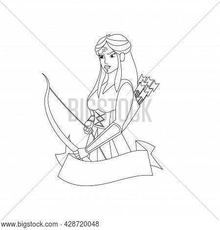 Isolated Sagittarius Female Character Zodiac Sign Vector