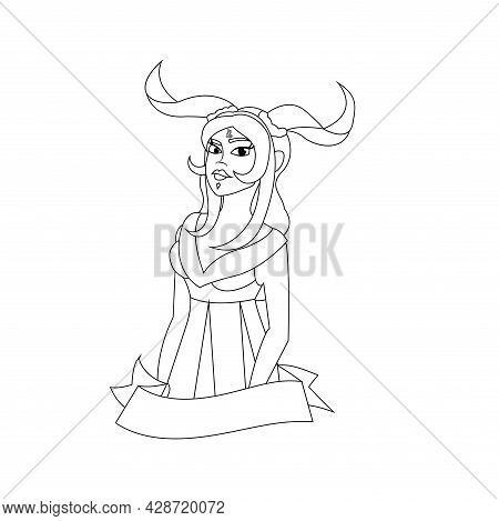 Isolated Capricorn Female Character Zodiac Sign Vector